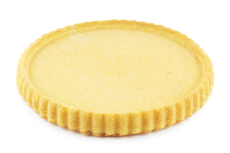 flan: Empty sponge cake flan case on white