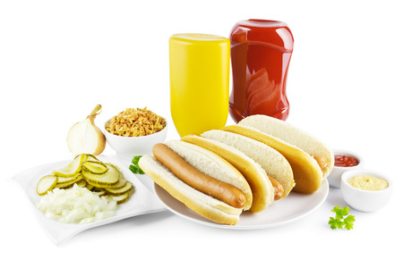 hot dogs: Hot dogs with ingredients on a white background.