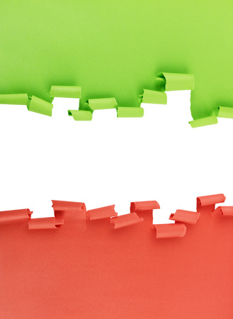curled: Ripped and curled paper background in green and red, isolated over white.