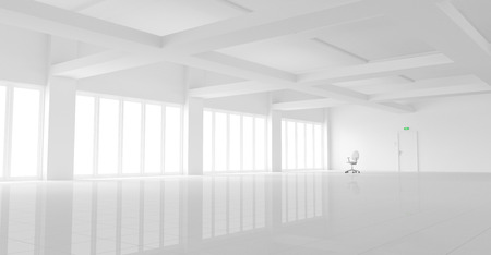 3d illustration of a large empty white office with a single office chair. Stock Photo