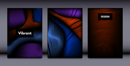 Movement. Abstract Backgrounds. Trendy Wave Lines with Gradient n Futuristic Style. Volume Effect. Distortion of 3d Shapes. Cover Templates Set with Movement for Presentation, Poster, Brochure.