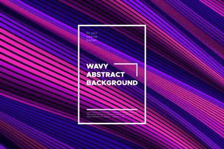 Abstrait tendance avec effet 3d. Texture de vague avec des lignes déformées roses, bleues et violettes. Illusion d'optique créative. Style futuriste. Abstrait avec des formes à rayures volumétriques. Eps10.