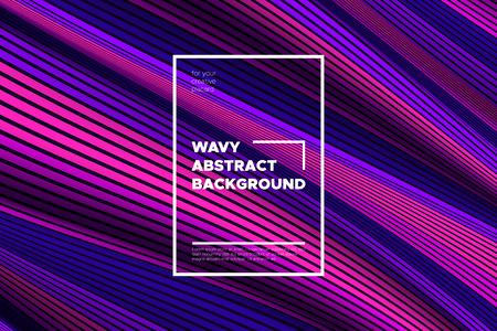 Trendy Abstract Background with 3d Effect. Wave Texture with Pink, Blue, Purple Distorted Lines. Creative Optical Illusion. Futuristic Style. Abstract Background with Volumetric Striped Shapes. Eps10. Foto de archivo - 114801604