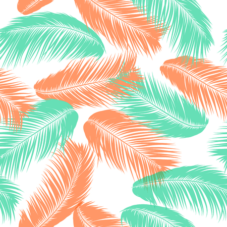Vector Coconut Tree. Tropical Seamless Pattern with Palm Leaf. Exotic Jungle Plants Abstract Background. Simple Silhouette of Tropic Leaves. Trendy Coconut Tree Branches for Textile, Fabric, Wallpaper
