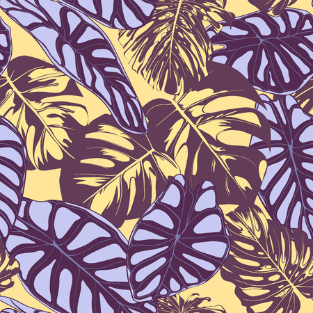 Seamless Vector Tropical Pattern. Monstera Palm Leaves and Alocasia. Jungle Foliage with Watercolor Effect. Exotic Hawaiian Textile Design. Seamless Tropical Background for Fabric, Dress, Paper, Print Illustration