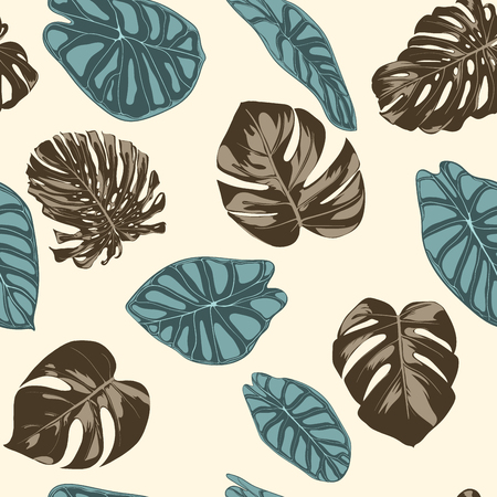 Tropical Leaves. Seamless Pattern with Hand Drawn Leaves of Monstera and Alocasia. Exotic Rapport for Textile, Fabric. Vector Seamless Background with Tropic Plants. Jungle Foliage. Watercolor Effect. Banco de Imagens - 114757278