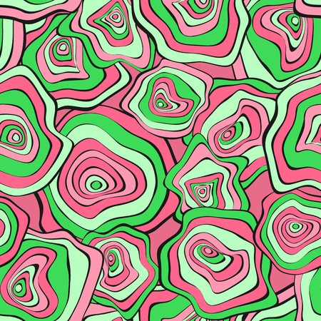 Wavy Distorted Rounds. Seamless Pattern with Deformed Circles. Hand Drawn Abstract Background. Vector Psychedelic Illustration with Colorful Spots. Wave Seamless Pattern for Fabric, Textile, Wrapping. Stock Illustratie