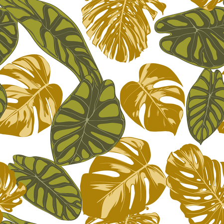 Seamless Hand Drawn Botanical Exotic Pattern with Philodendron and Alocasia Leaves. Vector Jungle Foliage in Watercolor Style. Seamless Tropic Leaf Background for Textile, Cloth, Fabric, Paper. Illustration
