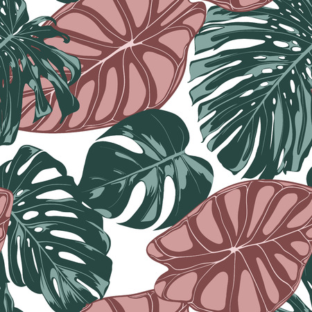 Tropical Jungle Leaves. Vector Seamless Pattern. Philodendron or Monstera Plant Repeating Background for Textile, Wallpaper, Summer Decoration. Floral Seamless Pattern with Alocasia and Monstera Leaf. Ilustrace