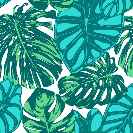 Seamless Vector Tropical Pattern. Monstera Palm Leaves and Alocasia. Jungle Foliage with Watercolor Effect. Exotic Hawaiian Textile Design. Seamless Tropical Background for Fabric, Dress, Paper, Print Ilustração