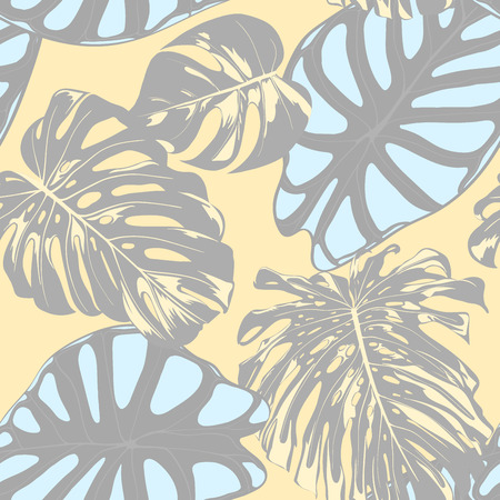 Seamless Vector Tropical Pattern in Pastel Color Design. Monstera Palm Leaves and Alocasia. Jungle Foliage with Watercolor Effect. Exotic Hawaiian Fabric Design. Seamless Tropical Background for Print