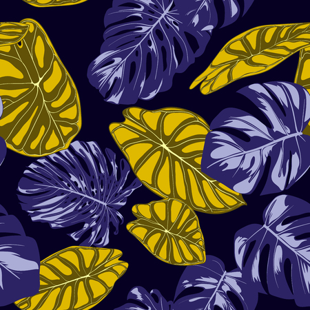 Tropical Jungle Leaves. Vector Seamless Pattern. Philodendron or Monstera Plant Repeating Background for Textile, Wallpaper, Summer Decoration. Floral Seamless Pattern with Alocasia and Monstera Leaf. Illustration