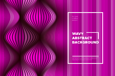 Pink Wave Poster. Abstract Geometric Background with Bright Wave Lines in Futuristic Style. Trendy Volumetric Cover with Distortion of Stripes. 3d Optical Illusion. Wave Poster for Web Design. Eps10.