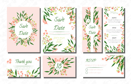 Wedding Card Templates Set With Eucalyptus Vector Decorative