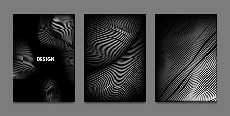 Distortion of Lines. Abstract Backgrounds with Vibrant Gradient and Wavy Stripes. Monochrome Cover Templates Set with Volume and Metallic Effect. Distorted Shapes for Business Presentation, Brochure. Illustration