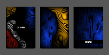 Distortion of Lines. Abstract Backgrounds with Vibrant Gradient and Wavy Stripes. Futuristic Cover Templates Set with Volume and Metallic Effect. Distorted Shapes for Business Presentation, Brochure. Illustration