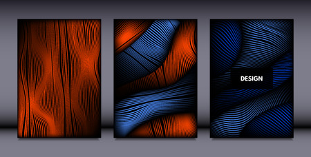 Movement. Abstract Backgrounds. Trendy Wave Lines with Gradient n Futuristic Style. Volume Effect. Distortion of 3d Shapes. Cover Templates Set with Movement for Presentation, Poster, Brochure. EPS. Illustration