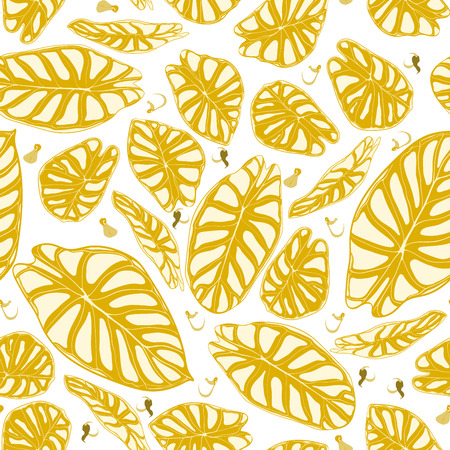 Seamless Jungle Pattern. Vector Tropic Leaves in Watercolor Style. Background with Stylized Plants Alocasia. Handwritten Exotic Foliage. Seamless Tropical Pattern for Textile, Cloth Design, Fabric.