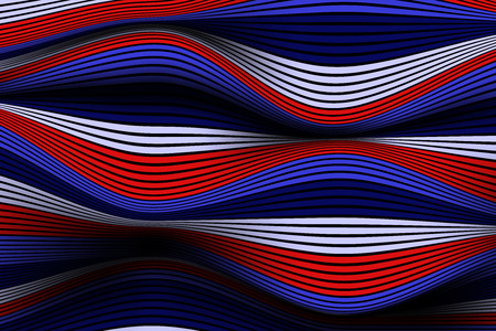 Trendy Abstract Background. Vector Wallpaper with Effect of Volume and Movement. Distorted Colorful Surface. Wavy Lines and Gradient Mesh. Futuristic 3D Illustration with Distortion of Lines. Flow.