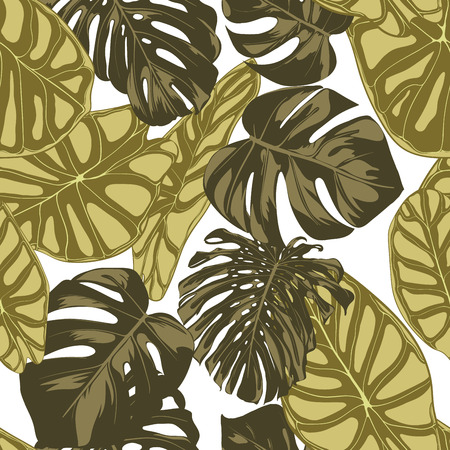 Tropical Leaves. Seamless Pattern with Hand Drawn Leaves of Monstera and Alocasia. Exotic Rapport for Textile, Fabric. Vector Seamless Background with Tropic Plants. Jungle Foliage. Watercolor Effect.