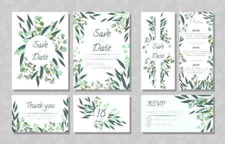 Diseño de eucalipto. Invitación de boda, menú, Rsvp, etiqueta de agradecimiento. Guarde el conjunto de plantillas de tarjetas de fecha con elementos verdes, florales decorativos y hierbas. Ilustración botánica vintage con hoja de eucalipto