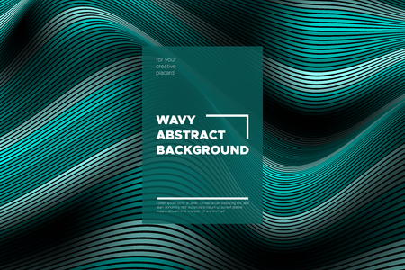 Curve Lines Background. Vector Abstraction with Turquoise Distorted Stripes. Flow of Waves. Movement of 3d Striped Texture. Trendy Wave Template. Curve Lines Background for Design, Covers, Brochure.