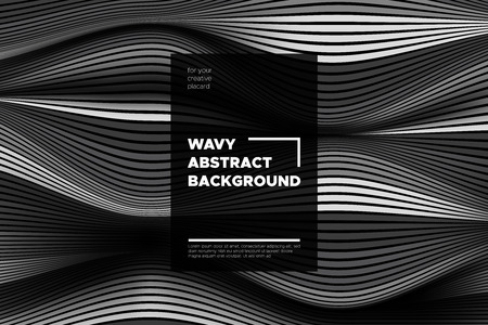 Monochrome Abstract Background with 3d Effect. Wavy Texture with Grey, Black and White Distorted Lines. Optical Illusion. Trendy Abstract Background with Volumetric Striped Shapes for Poster, Covers. Foto de archivo - 112049044