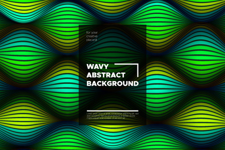 Movement. Trendy Abstract Background of Waves. Modern Bright Flow Poster. Color Blend. Distortion of Wave Stripes. 3d Surface with Optical Illusion. Colorful Warped Lines Movement Effect. Eps10 Vector