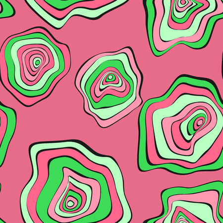 Wavy Distorted Rounds. Seamless Pattern with Deformed Circles. Hand Drawn Abstract Background. Vector Psychedelic Illustration with Colorful Spots. Wave Seamless Pattern for Fabric, Textile, Wrapping. Illustration