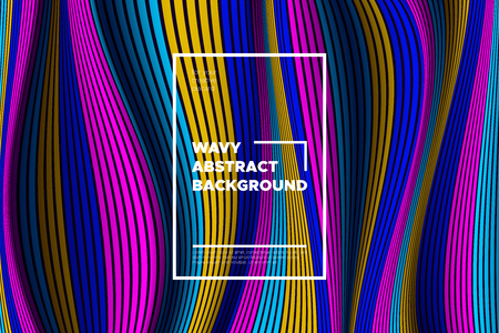 Modern Abstract Background with 3d Effect. Wave Texture with Colorful Distorted Lines. Creative Optical Illusion. Futuristic Style. Bright Abstract Background with Volumetric Striped Shapes. Eps10.
