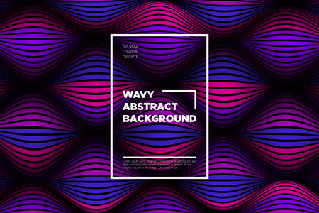 Wave Lines Pattern. Trendy Abstract Background with Distorted Stripes. 3d and Movement Effect. Volumetric Flow Folds. Vector Illustration, EPS10. Wave Lines for Presentation, Brochure, Poster, Web.