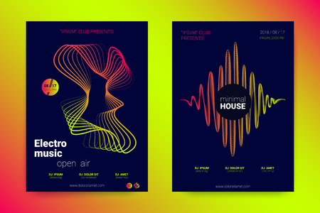 Sound Flyer with Wavy Lines. Abstract Background with Distorted Stripes, Round and Gradient. Music Wave Poster. Electronic Sound Cover. Modern Vector Illustration. Minimal Sound Fest in Night Club. Vektorové ilustrace