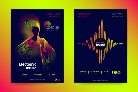 Abstract Music Wave Flyer. Poster with Distortion of Lines, Circles and Gradient for Night Party Invitation. Abstract Covers with Wavy Stripes in Minimal Style. Vector Abstract Illustration Eps10. Illustration