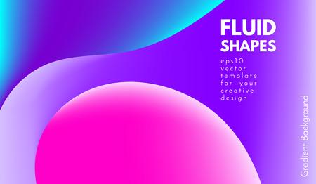 Fondo colorido abstracto con formas líquidas. Gradientes fluidos de moda. Composición 3d brillante. Ilustración vectorial Eps10. Fondo abstracto con efecto resplandor para portadas, folletos, diseño de carteles.