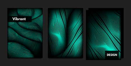 Distortion of Wavy Lines. Turquoise Abstract Backgrounds with Vibrant Gradient. Movement and Volume Effect. Futuristic Cover Templates Set for Presentation, Poster, Brochure. Distortion of 3d Shapes. Illustration