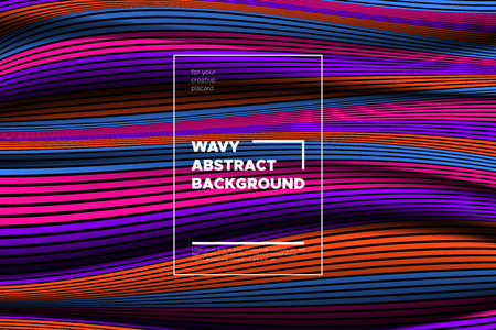 Distortion of Space. Modern Abstract Background with Vector Warped Lines. Bright Volumetric Colorful 3d Surface. Movement Effect. Optical Illusion of Distortion of Stripes for Covers, Presentation.