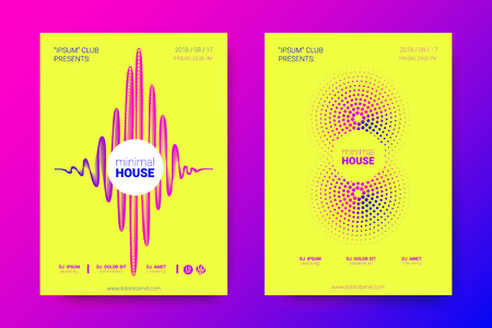 Music Abstract Colorful Poster. Bright Sound Flyer with Distortion of Circles. Trendy Abstract Covers of Electronic Music Event. Modern Vibrant Gradient and Wave Lines. Abstract Vector Illustration. Vector Illustration