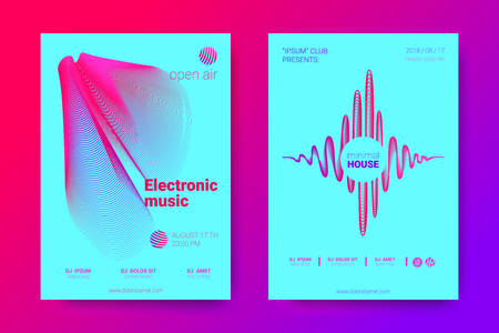 The Posters of a Music Party. Bright Abstract Backgrounds with Distorted Circles and Stripes. Wave Poster with Vector Colorful Equalizer. Effect 3d and Gradient. Modern Poster of Electronic Music Fest Vector Illustratie