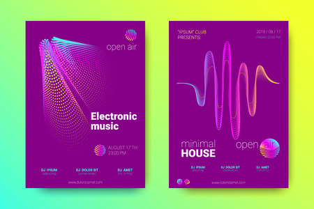 Electronic Music Party Poster with Colorful Equalizer. Abstract Wave Lines and Distortion of Circles. Gradient Equalizer Design. Vector Background for Night Sound Event. Modern Music Glowing Equalizer