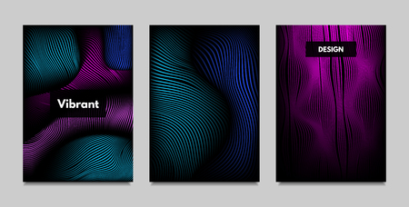 Fluid Metallic Shapes Abstraction. Covers with Trendy Vibrant Gradient and Movement Effect. Abstract Wavy Geometry. Vector Templates with Distortion of Lines. Fluid Shapes for Business Presentation. Illustration