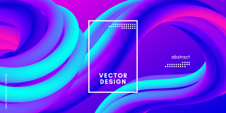 Abstract Wave 3d Background with Colorful Liquid. Vector Illustration. Trendy 3d Fluid Design for Business Presentation, Poster. Neon Gradient Flow Shapes. Abstract 3d Cover with Vibrant Gradient.