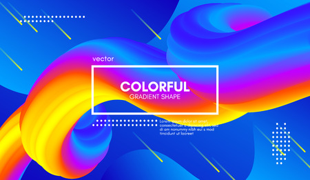 Abstract Wave 3d Background with Colorful Liquid. Vector Illustration. Trendy 3d Fluid Design for Business Presentation, Poster. Modern Gradient Flow Shapes. Abstract 3d Cover with Vibrant Gradient.