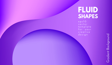 Purple Background with Liquid Shapes. Abstract Flow Poster. Trendy Gradients in Ultraviolet and Purple Colors. 3d Vector Illustration. Fluid Shapes Composition. Abstract Cover with Violet Gradient. Vector Illustration