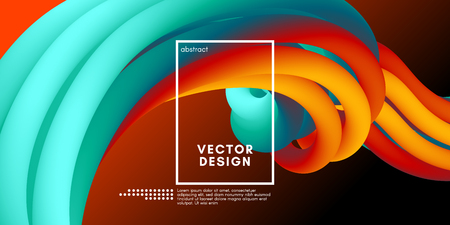 3d Abstract Flow Poster. Wave Liquid Shapes. Vector Illustration Eps10. Modern Colorful Background. Trendy Abstract Fluid Design for Music Poster, Brochure, Layout. 3d Abstract Wave Cover with Motion.