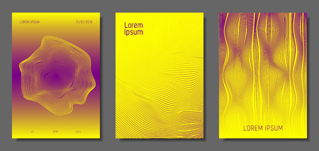 Cover Design Templates Set with Distortion Effect. Abstract Wave Striped Background. Geometric Templates with Flow Lines. EPS10 Vector Design. 3D Distortion for Brochure, Magazine, Music Poster, Book. Ilustração