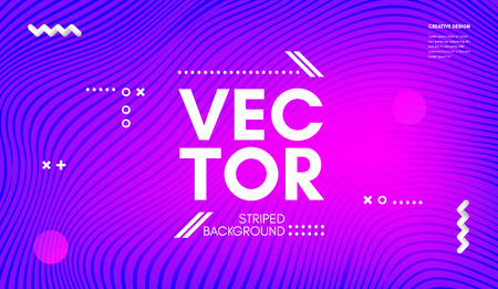 Abstract Wave Lines. Geometric Template with Distortion of Stripes. Flow Gradient Abstract Background in Minimal Style. Eps10 Vector. Abstract Cover with Movement Effect for Poster, Business Design. Vettoriali