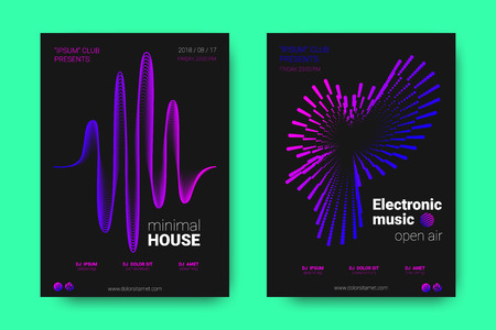 Poster of Electronic Music Night Party. Abstract Vector Background. Colorful Wave Lines and Equalizer. Minimal Party Flyer Design. Distortion of Rounds. Modern Music Covers of House Music Party. Archivio Fotografico - 111716016