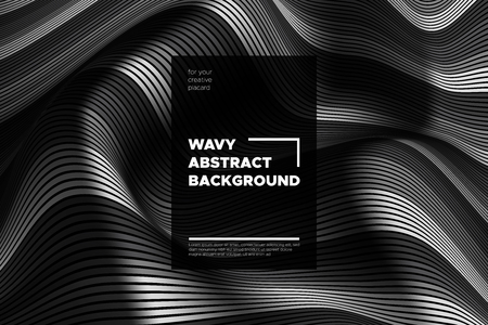 Monochrome Abstract Background with 3d Effect. Wavy Texture with Grey, Black and White Distorted Lines. Optical Illusion. Trendy Abstract Background with Volumetric Striped Shapes for Poster, Covers.