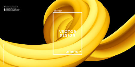 Yellow Wave Liquid Shapes. 3d Abstract Flow Design in Gold Colors. Trendy Luxury Background for Wave Poster, Flyer. Modern Vector Illustration Eps10. Creative Wave Template with Gold Fluid Elements.