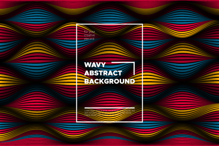 Distortion of Lines. Modern Abstract Cover with Vector Warped Stripes. Bright Volumetric Folds. Colorful 3d Surface. Movement Effect. Optical Illusion of Distortion of Space for Covers, Presentation.
